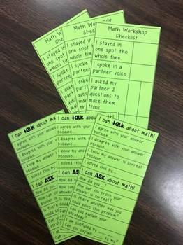Math Workshop Checklist WITH Math Talk Sentence Starters