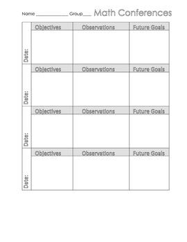 Math Workshop Conference Form
