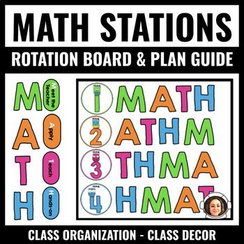 Burlap Math Workshop Customizable Bulletin PRINTABLE (S.T.A.M.P.)