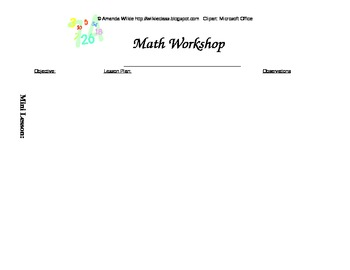 Math Workshop Daily Planner