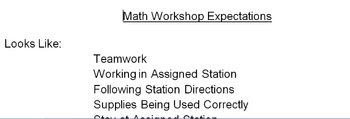 Math Workshop Day Expectations