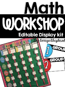 **Editable** Math Workshop Display Board Kit
