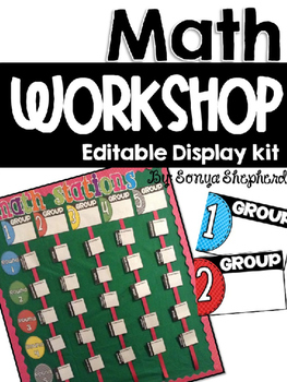**Editable** Math Workshop Display Board Kit