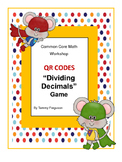 """Math Workshop """"Dividing Decimals"""" Game (with & without QR codes)"""