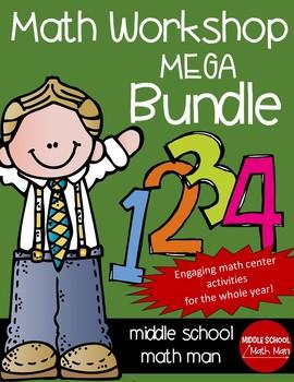 Math Workshop Full Year Mega Bundle (For Upper Elementary/Middle School Math)