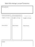 Math Workshop Lesson Plan Template