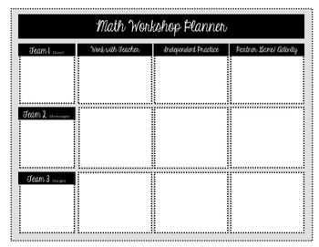Math Workshop Lesson Planner