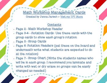 Math Workshop Management Board