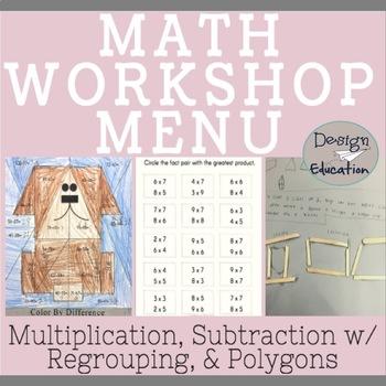 Math Workshop Menu 3rd and 4th Grade