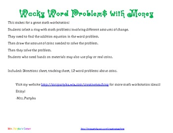 Math Workshop: Money and Coins: Wacky Word Problems