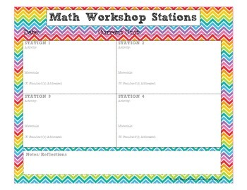 CHEVRON Math Workshop Planner {Stations/ Centers}
