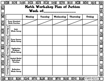 Math Workshop Planning Pages