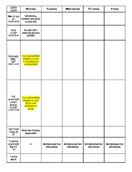 Math Workshop Planning Sheet
