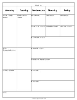 Math Workshop Planning Sheets {Free Sample}