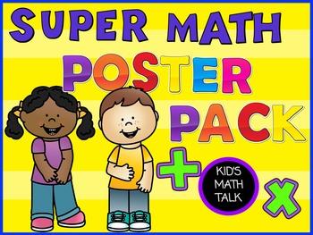 SUPER Math Posters Bundle! Kid-friendly questions, bookmar