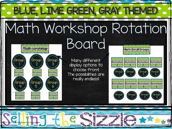 Math Workshop Rotation Board- Blue, Lime Green, Gray Themed