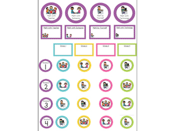 Math Workshop Rotation Board with Pictures - Polka Dots