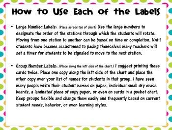 Math Workshop Rotation  Board Labels (Bright Colors)