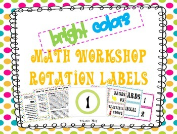 Math Workshop Rotation  Board Labels (Bright Colors)