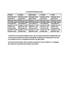 Math Workshop Schedule Template