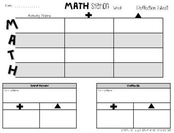 Math Workshop Station Reflection Pack
