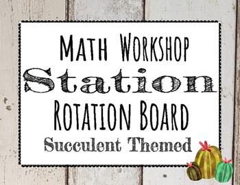 Math Workshop Bulletin Board -  Farmhouse Cactus Themed