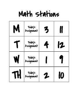 Math Station Rotations