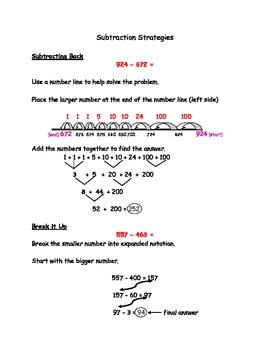 Math Workshop Subtraction Strategies