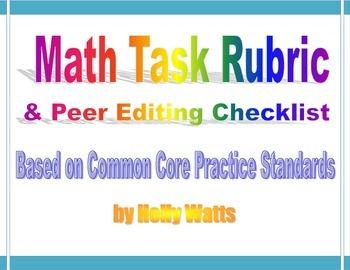 Math Task Rubric & Peer Editing Checklist