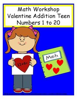 Math Workshop Valentine Addition teen #'s File Folder Game