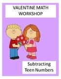Math Workshop Valentine Subtraction Teen #'s File Folder Game