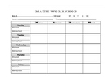 Math Workshop Weekly Planner