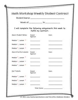 Math Workshop Weekly Student Contract