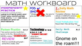 Math Workshop Workboard