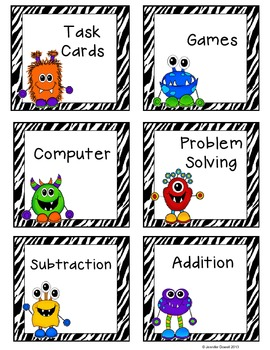Monster Classroom Theme- Math Workstation Cards