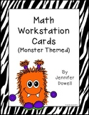 Math Workstation Cards- Monsters (Freebie)