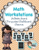Math Workstation Organizational Headers - Turquoise Chalkboard