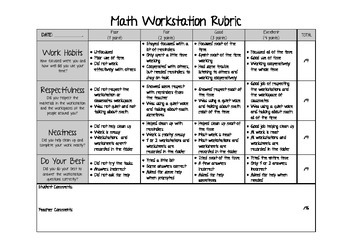 Math Workstation Rubric
