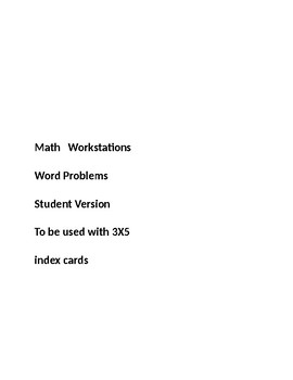 Math Workstations Student  Story Problems