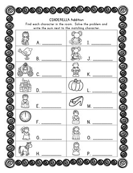 Math Write the Room: Cinderella Edition-Addition with Sums to 9