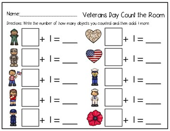 Math Write the Room Veterans Day Edition