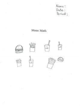Math - Writing Algebraic Expressions using a Menu