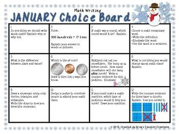 Math Writing Choice Board (January)