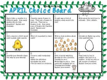 Math Writing Choice Board (April)