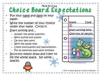 Math Writing Choice Board (December)