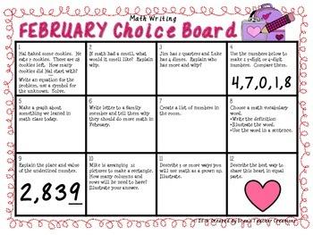 Math Writing Choice Board (February)