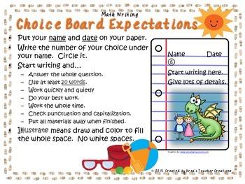 Math Writing Choice Board (June)