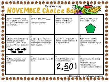 Math Writing Choice Board (November)