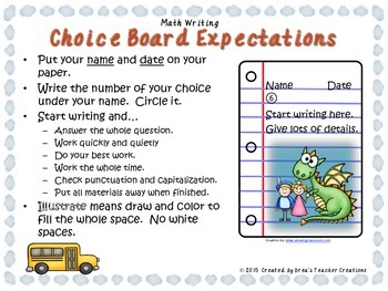 Math Writing Choice Board (September)