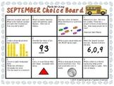 Math Writing Choice Board (September)